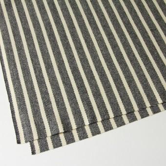 ウール&ポリエステル×ストライプ(キナリ×グレー)×かわり織 サムネイル2