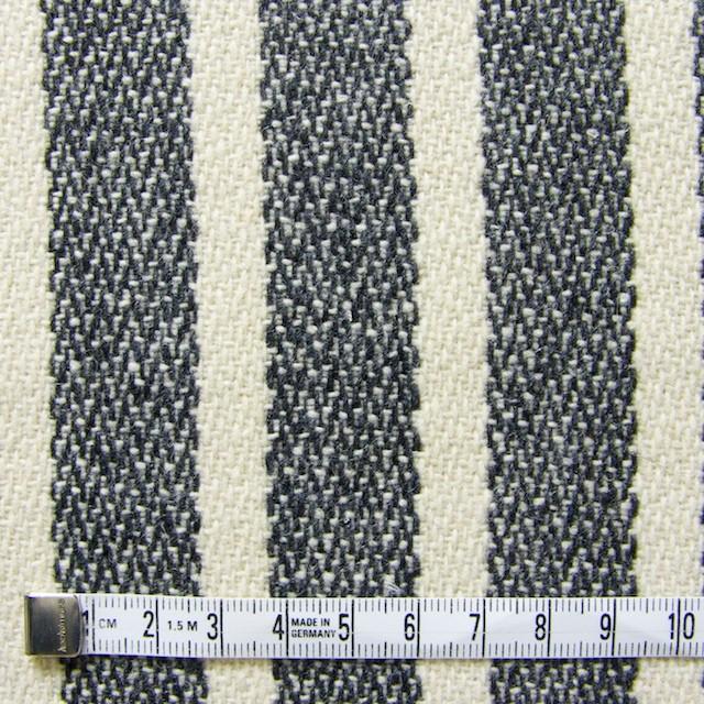 ウール&ポリエステル×ストライプ(キナリ×グレー)×かわり織 イメージ4