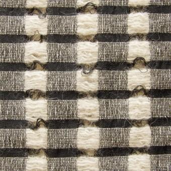 ウール&モヘア×チェック(ブラック&ベージュ)×かわり織 サムネイル1