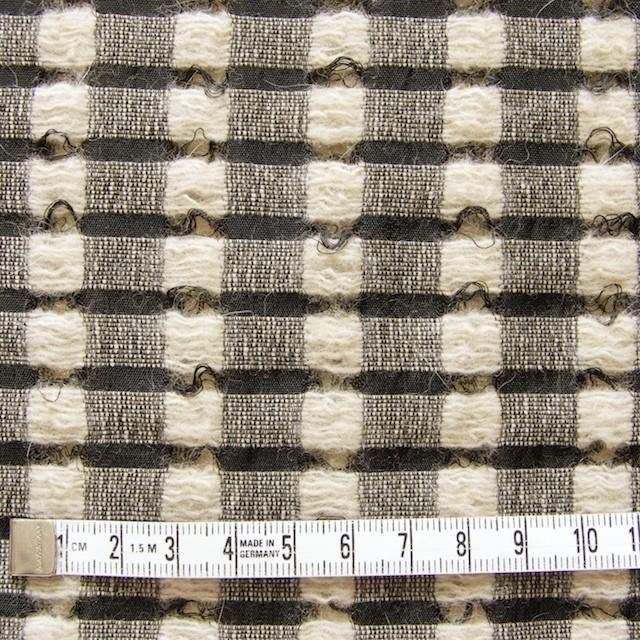 ウール&モヘア×チェック(ブラック&ベージュ)×かわり織 イメージ4