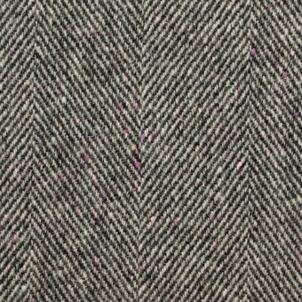 ウール&ナイロン×ミックス(アイボリー&ブラック)×ヘリンボーン サムネイル1