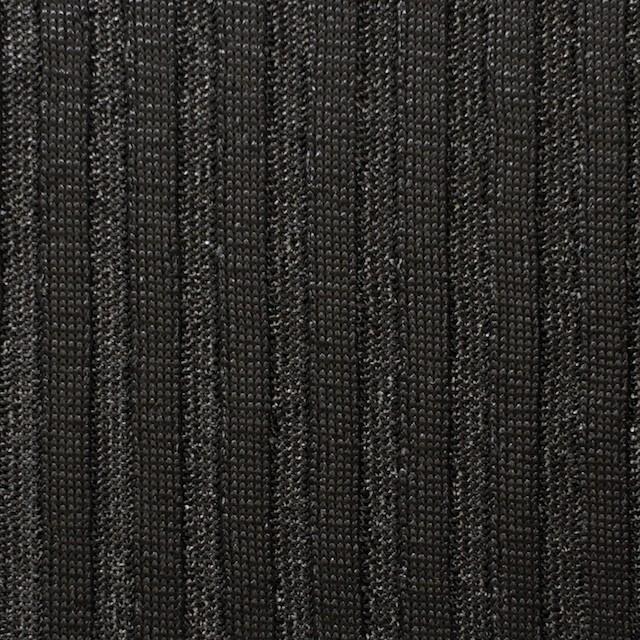 ポリエステル×無地(ブラック)×リブニット_フランス製 イメージ1