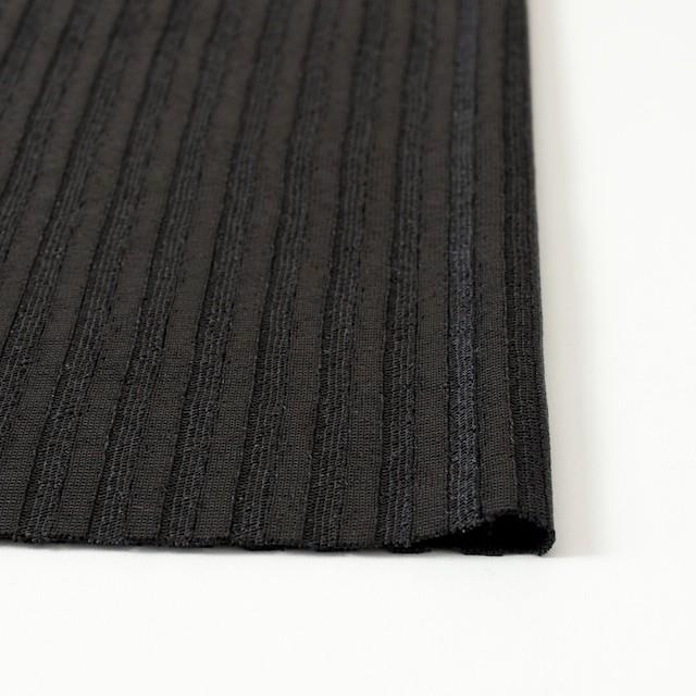 ポリエステル×無地(ブラック)×リブニット_フランス製 イメージ3