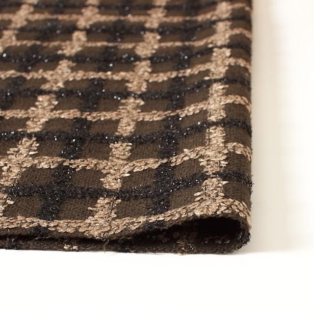 ウール&コットン混×チェック(ブラウン)×ジャガード_イタリア製 イメージ3