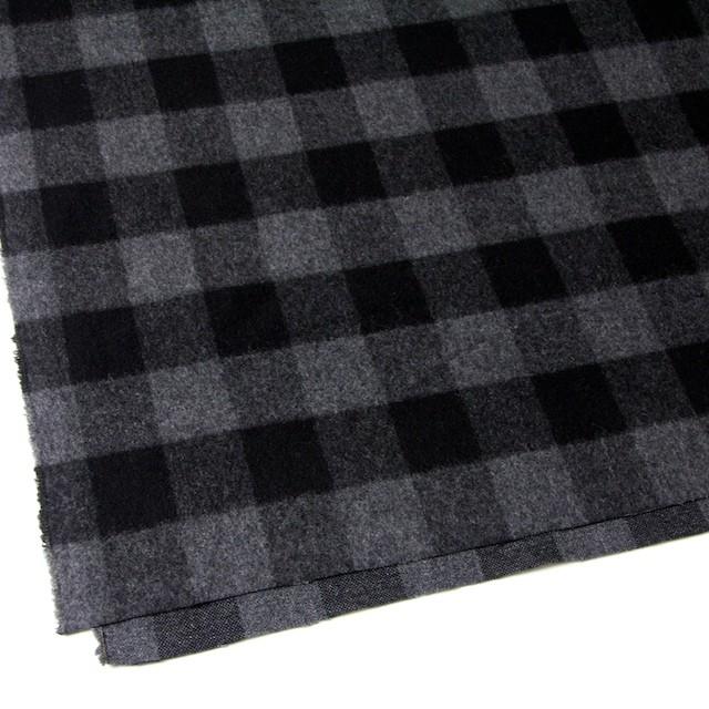 ウール&ポリエステル混×ブロックチェック(グレー&ブラック)×起毛ツイード イメージ2