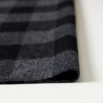 ウール&ポリエステル混×ブロックチェック(グレー&ブラック)×起毛ツイード サムネイル3