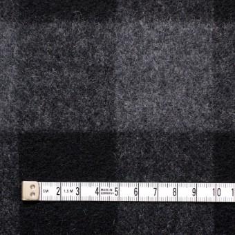 ウール&ポリエステル混×ブロックチェック(グレー&ブラック)×起毛ツイード サムネイル4