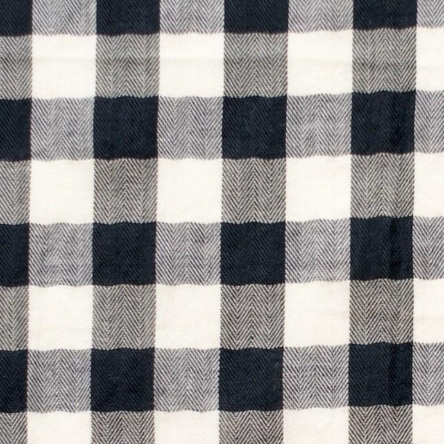 コットン×ギンガムチェック(ブラック)×ヘリンボーン_全2色 イメージ1