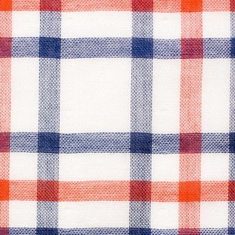 コットン×チェック(オレンジ&ブルー)×Wガーゼ_全2色 サムネイル1
