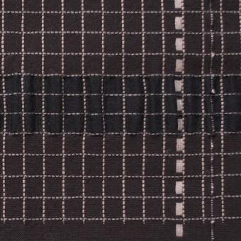 コットン&リネン&ポリエステル×幾何学(ダークブラウン)×刺し子サッカー サムネイル1