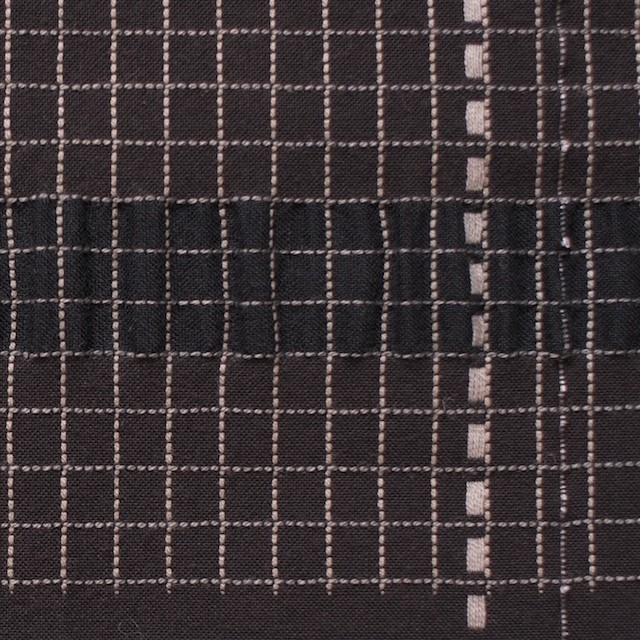 コットン&リネン&ポリエステル×幾何学(ダークブラウン)×刺し子サッカー イメージ1