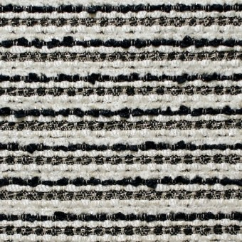 ウール&ナイロン混×ボーダー(ホワイト&ブラック)×ファンシーツイード サムネイル1