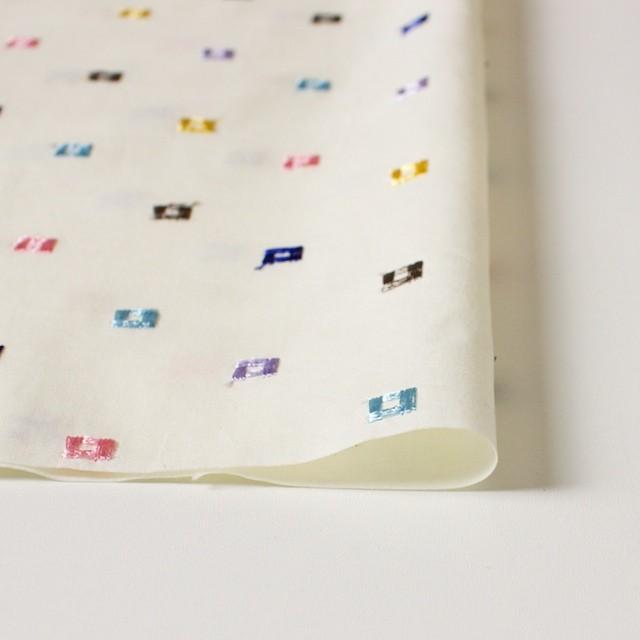 コットン&シルク×幾何学模様(アイボリー)×ブロード刺繍_全3色 イメージ3