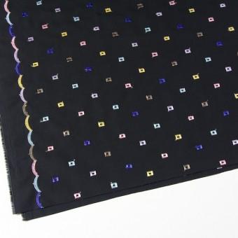 コットン&シルク×幾何学模様(ブラック)×ブロード刺繍_全3色 サムネイル2