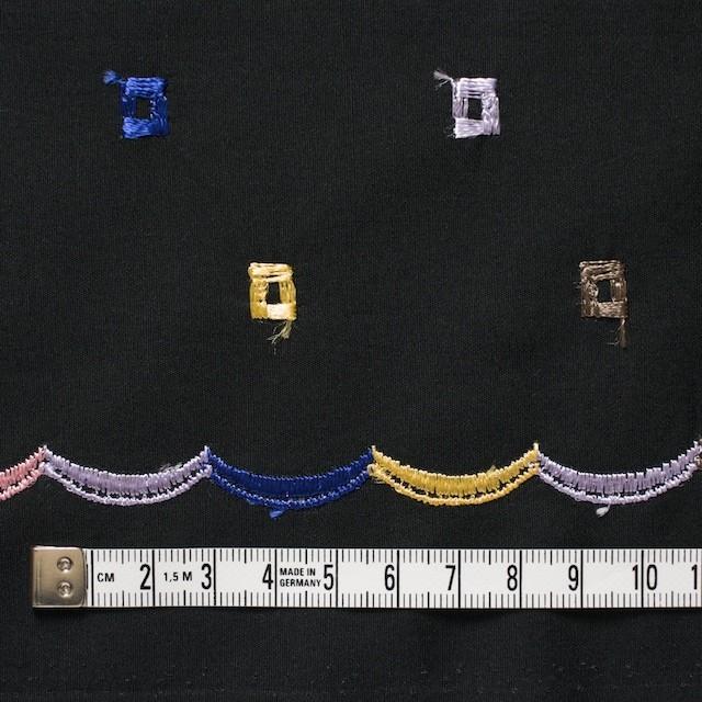 コットン&シルク×幾何学模様(ブラック)×ブロード刺繍_全3色 イメージ4