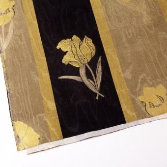 ビスコース&アセテート×フラワー(ゴールド&ブラック)×ジャガード_ベルギー製 サムネイル2