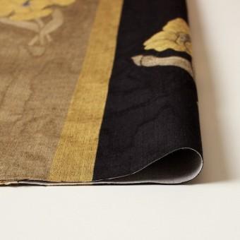 ビスコース&アセテート×フラワー(ゴールド&ブラック)×ジャガード_ベルギー製 サムネイル3