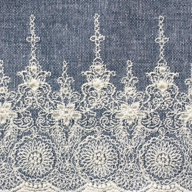 コットン×フラワー(ブルー)×ダンガリー刺繍_全2色 イメージ1