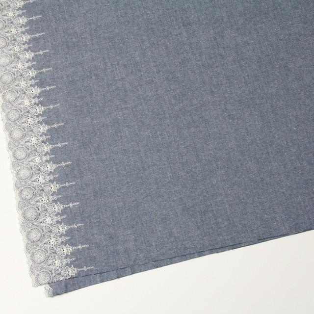 コットン×フラワー(ブルー)×ダンガリー刺繍_全2色 イメージ2
