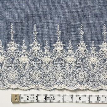 コットン×フラワー(ブルー)×ダンガリー刺繍_全2色 サムネイル4