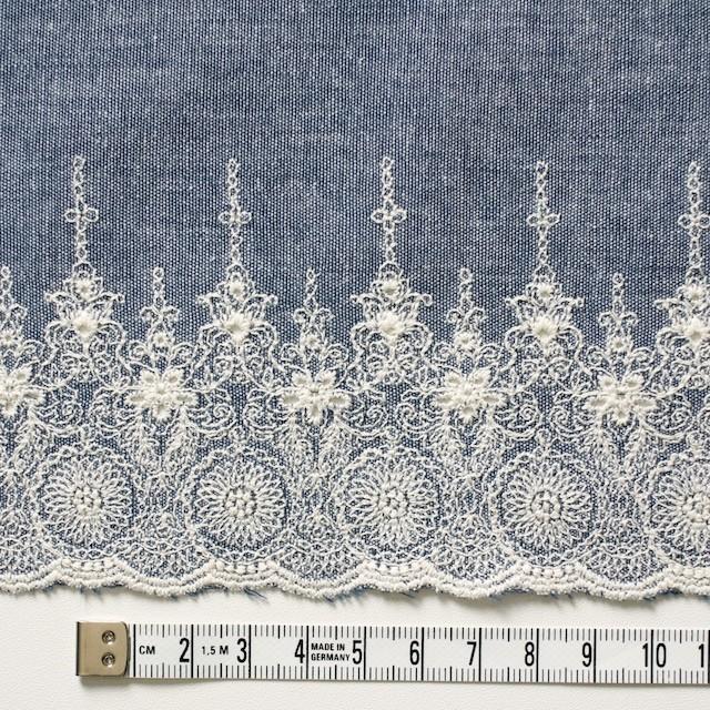 コットン×フラワー(ブルー)×ダンガリー刺繍_全2色 イメージ4