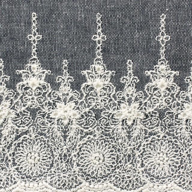 コットン×フラワー(ネイビー)×ダンガリー刺繍_全2色 イメージ1