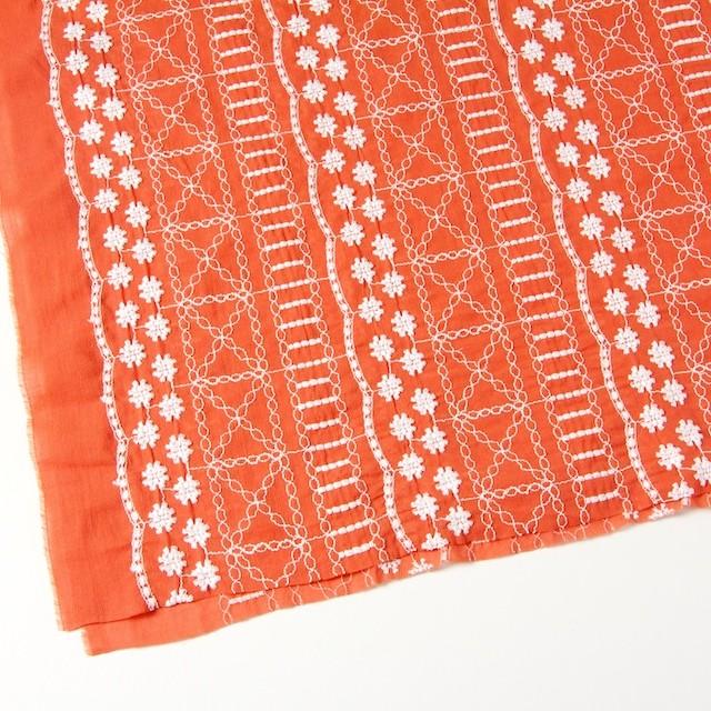 コットン×フラワー(オレンジ)×ヨウリュウ刺繍 イメージ2