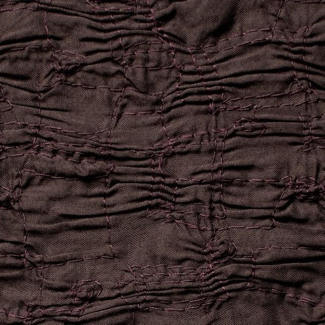 コットン&ポリエステル×幾何学模様(ダークブラウン)×チュールカットレース イメージ1