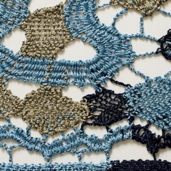 レーヨン&リネン×幾何学模様(ブルーミックス)×ケミカルレース_全2色 サムネイル1