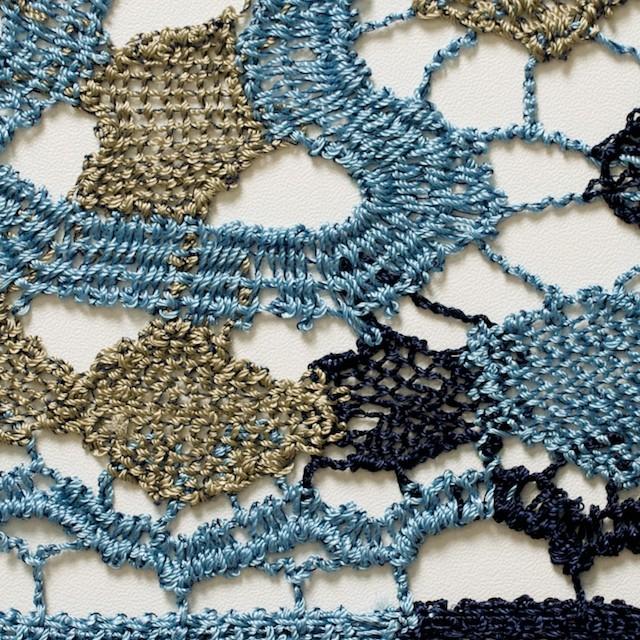 レーヨン&リネン×幾何学模様(ブルーミックス)×ケミカルレース_全2色 イメージ1