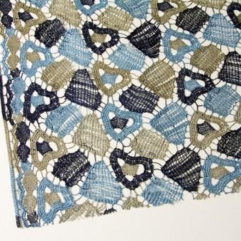 レーヨン&リネン×幾何学模様(ブルーミックス)×ケミカルレース_全2色 サムネイル2