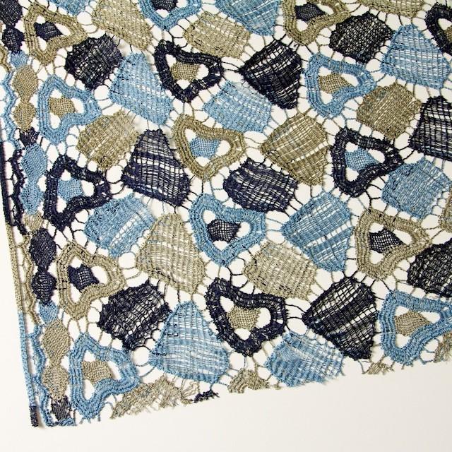 レーヨン&リネン×幾何学模様(ブルーミックス)×ケミカルレース_全2色 イメージ2
