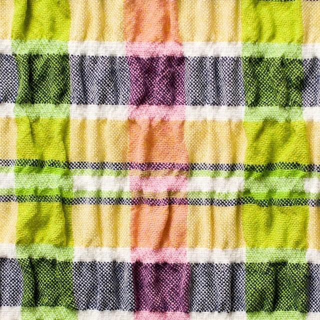 ポリエステル&レーヨン混×チェック(イエローミックス)×シャーリング_全3色 イメージ1