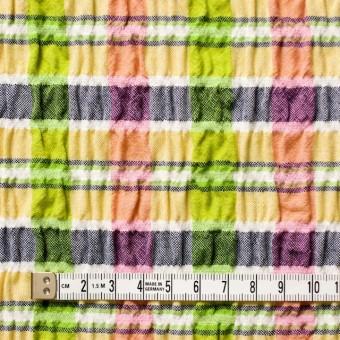 ポリエステル&レーヨン混×チェック(イエローミックス)×シャーリング_全3色 サムネイル4