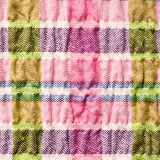 ポリエステル&レーヨン混×チェック(ピンクミックス)×シャーリング_全3色 イメージ1