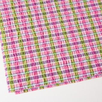 ポリエステル&レーヨン混×チェック(ピンクミックス)×シャーリング_全3色 サムネイル2