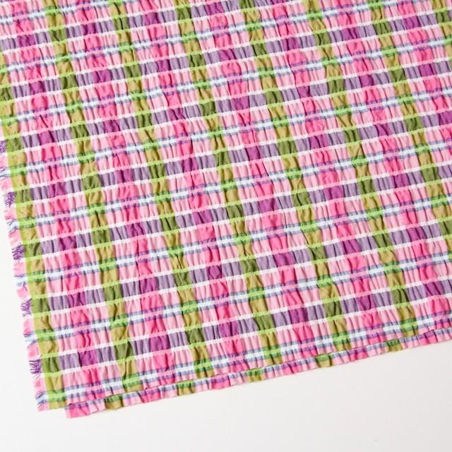 ポリエステル&レーヨン混×チェック(ピンクミックス)×シャーリング_全3色 イメージ2