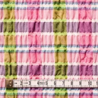 ポリエステル&レーヨン混×チェック(ピンクミックス)×シャーリング_全3色 サムネイル4