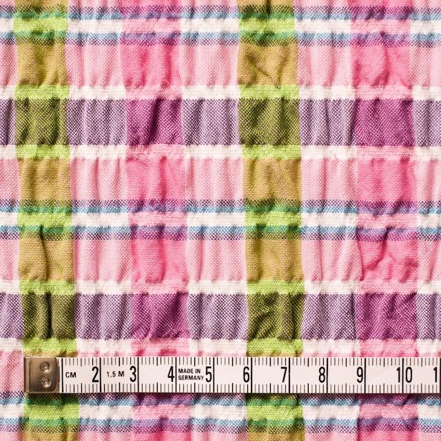 ポリエステル&レーヨン混×チェック(ピンクミックス)×シャーリング_全3色 イメージ4