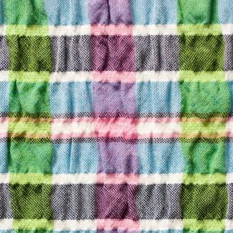 ポリエステル&レーヨン混×チェック(ブルーミックス)×シャーリング_全3色 サムネイル1