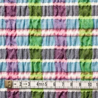 ポリエステル&レーヨン混×チェック(ブルーミックス)×シャーリング_全3色 サムネイル4