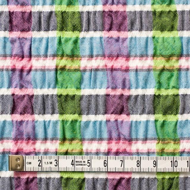 ポリエステル&レーヨン混×チェック(ブルーミックス)×シャーリング_全3色 イメージ4