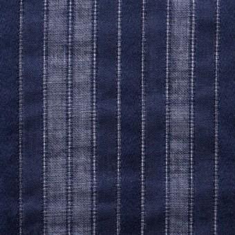 コットン×ストライプ(ネイビー)×からみ織り サムネイル1