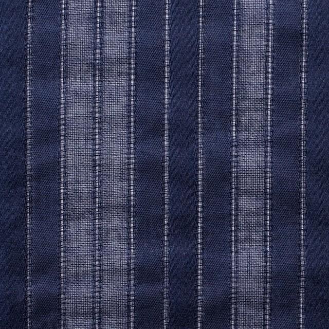 コットン×ストライプ(ネイビー)×からみ織り イメージ1