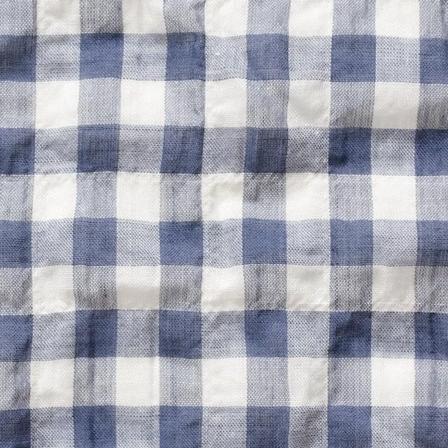 コットン×ギンガムチェック(グレイッシュブルー)×ボイルシャーリング イメージ1