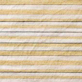 コットン&ポリエステル混×ボーダー(マスタード)×ローンワッシャー_全3色 サムネイル1