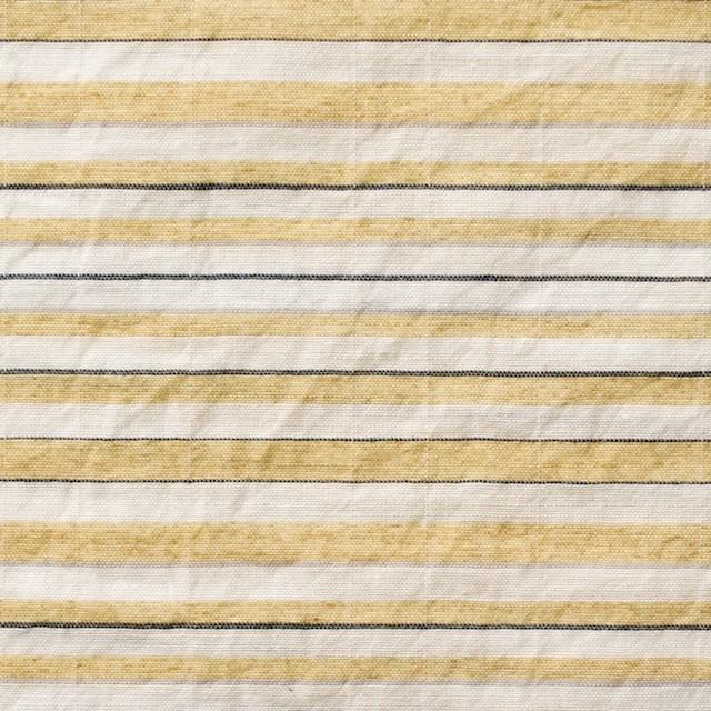 コットン&ポリエステル混×ボーダー(マスタード)×ローンワッシャー_全3色 イメージ1