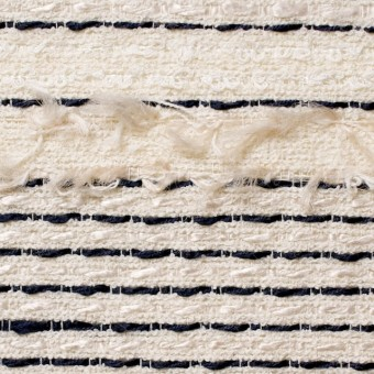コットン&レーヨン混×ボーダー(アイボリー)×ファンシーツイード サムネイル1