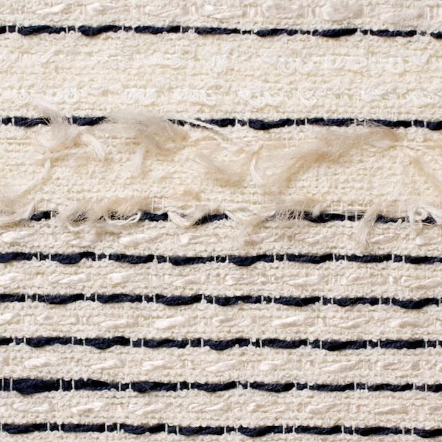 コットン&レーヨン混×ボーダー(アイボリー)×ファンシーツイード イメージ1