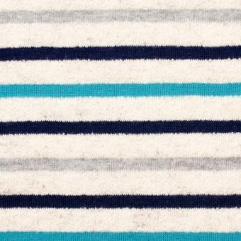コットン&リネン×ボーダー(ターコイズ&グレー)×天竺ニット_全2色 サムネイル1